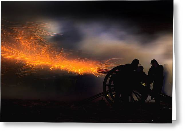 Robert Jensen Greeting Cards - Spark trails from cannon howitzer blast Greeting Card by Robert Jensen