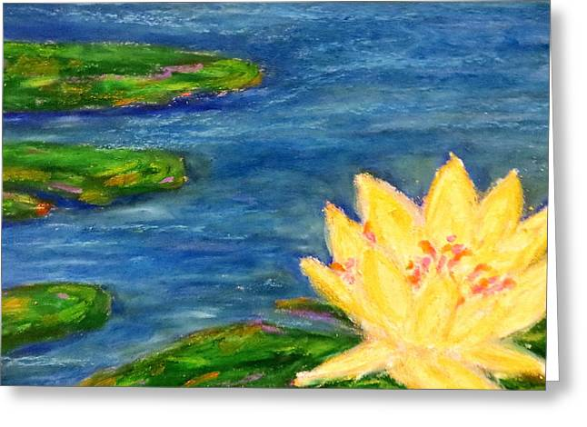 Water Lilly Pastels Greeting Cards - Sparking Lillies Greeting Card by Daniel Dubinsky