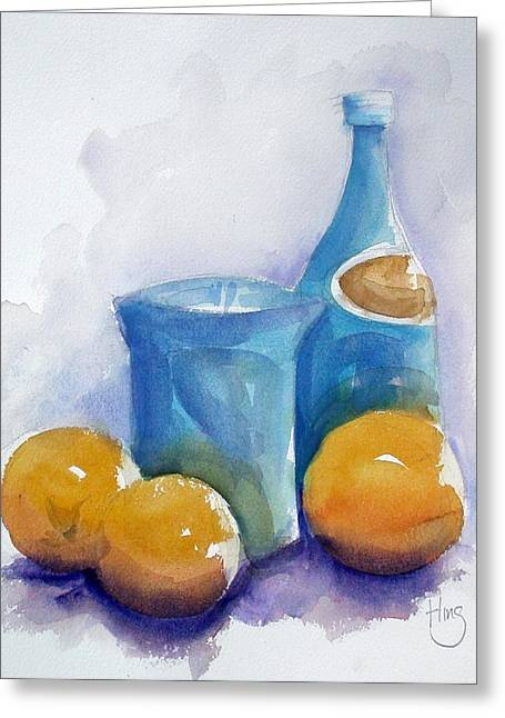 Loose Watercolor Greeting Cards - Sparking Water and Oranges Greeting Card by Andrew Fling