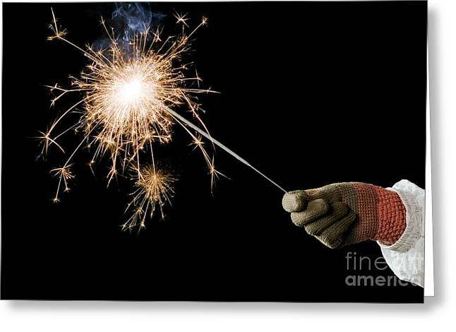 Sparklers Greeting Cards - Sparkler Demonstration Greeting Card by Martyn F. Chillmaid