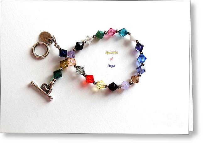 Fund Raising Greeting Cards - Sparkles of Hope Cancer Bracelet Greeting Card by Barbara Griffin
