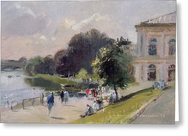 River Thames Greeting Cards - Sparkling Afternoon, Richmond, 1993 Oil On Canvas Greeting Card by Trevor Chamberlain