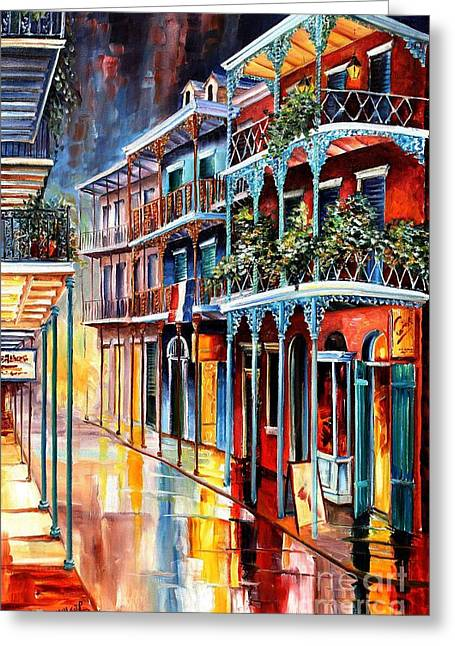 Street Scenes Paintings Greeting Cards - Sparkling French Quarter Greeting Card by Diane Millsap