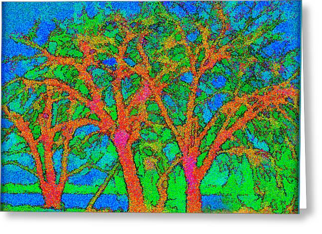 Pointillist Mixed Media Greeting Cards - Sparkling Glowing Trees By Sunlit Lake Greeting Card by Joel Bruce Wallach