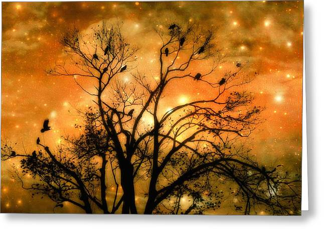Crows In Trees Greeting Cards - Sparkling Greeting Card by Gothicolors Donna Snyder