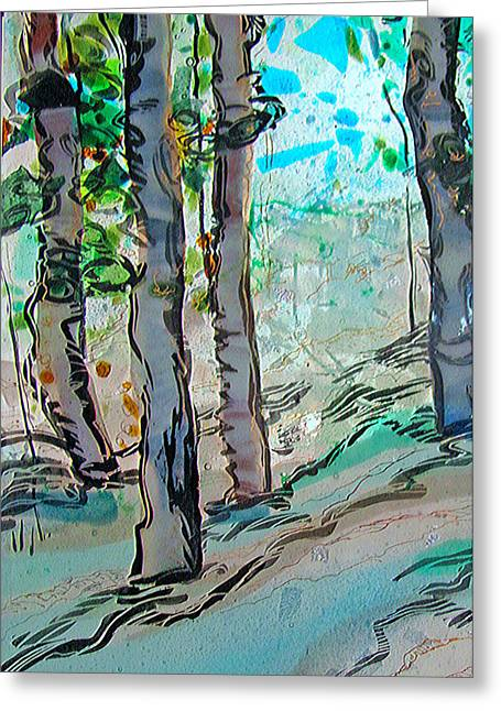 Glass Art Greeting Cards - Sparkling Hillside Greeting Card by Alice Benvie Gebhart