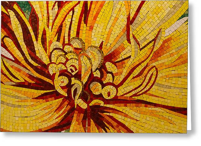 Tangerine Greeting Cards - Sparkling Intricate Golds and Yellows - a Floral Ceramic Tile Mosaic Greeting Card by Georgia Mizuleva