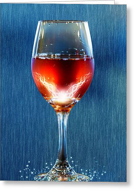 Italian Wine Digital Greeting Cards - Sparkling Moscato Greeting Card by Bill Tiepelman