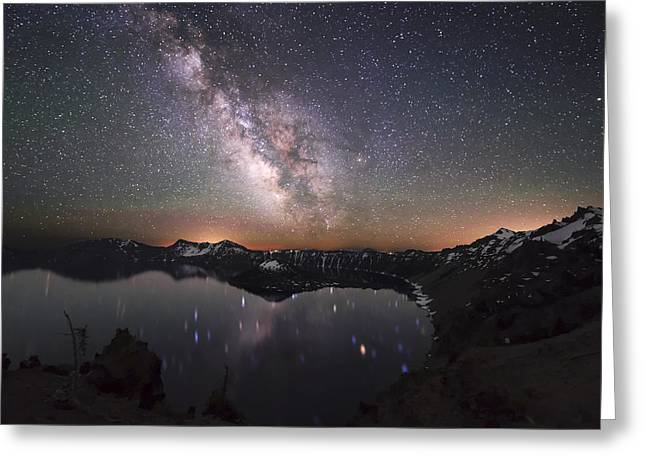 Crater Lake Twilight Greeting Cards - Sparkling Night in Crater Lake Greeting Card by Yoshiki Nakamura