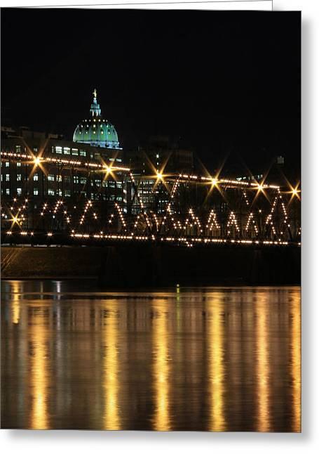 """riverfront Park"" Greeting Cards - Sparkling Night Greeting Card by Lori Deiter"