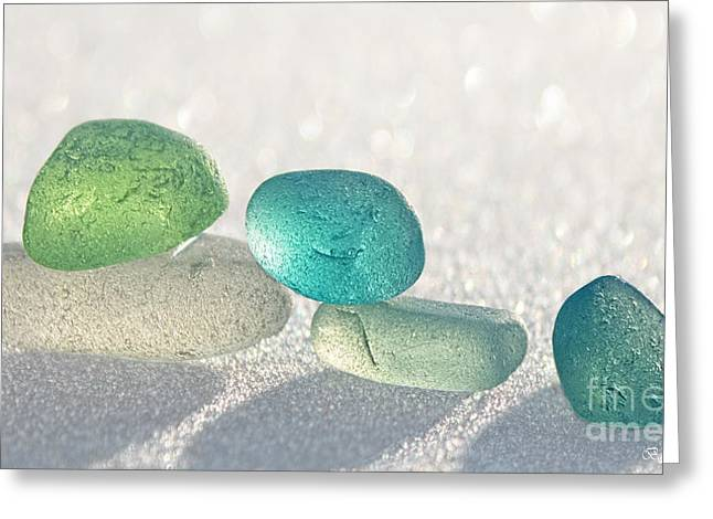 Friend Glass Greeting Cards - Sparkling Sea Glass Friends Greeting Card by Barbara McMahon
