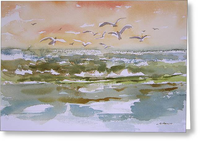 Recently Sold -  - Seabirds Greeting Cards - Sparkling surf Greeting Card by Julianne Felton
