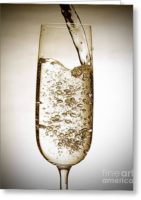 Wine Pouring Greeting Cards - Sparkling wine Greeting Card by Andreas Berheide