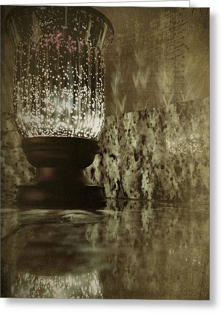 Candleholder Greeting Cards - Sparkly Candleholder Greeting Card by Bonnie Bruno
