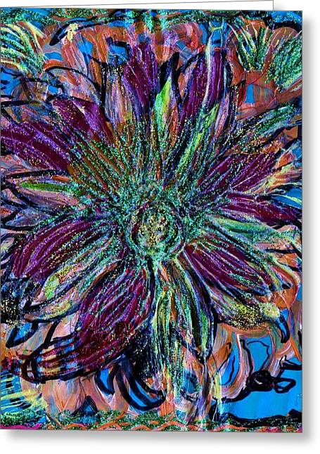 Sparkly Flower And A Blue Shoe Greeting Card by Anne-Elizabeth Whiteway