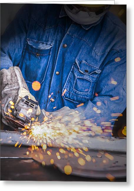 Metal Skill Greeting Cards - Sparks While Grinding  Greeting Card by Anek Suwannaphoom