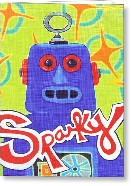 Child Toy Paintings Greeting Cards - Sparky the Toy Robot Greeting Card by Lynnda Rakos