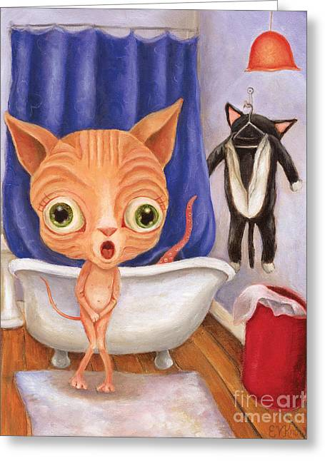 Sphynx Art Greeting Cards - Sparkys Tubby Time Greeting Card by Vicky Knowles