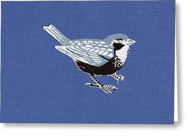 Sparrow, 2013 Woodcut Greeting Card by Nat Morley