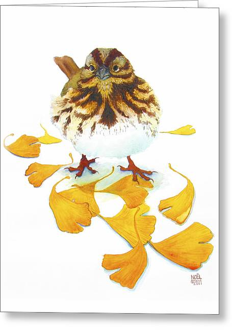Sparrow Digital Art Greeting Cards - Sparrow and Ginkgo Greeting Card by Catherine Noel