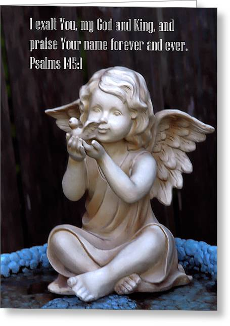Scuplture Greeting Cards - Sparrow and the Angel Greeting Card by Linda Phelps