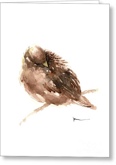 Sparrow Art Print Watercolor Painting Greeting Card by Joanna Szmerdt