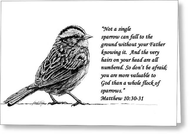 Janet King Drawings Greeting Cards - Sparrow drawing with scripture Greeting Card by Janet King