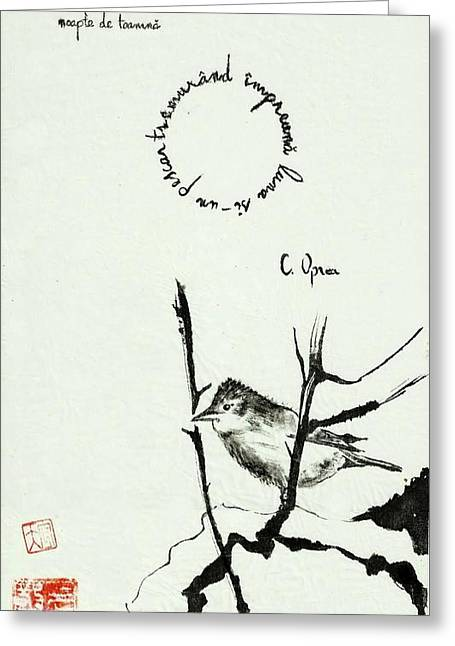 Vlad Grigore Greeting Cards - Sparrow In Autumn Greeting Card by Vlad Grigore