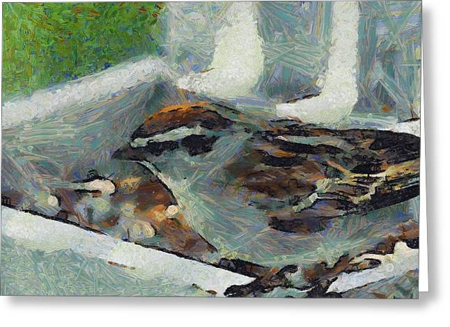 Sparrow Mixed Media Greeting Cards - Sparrow In Spring Greeting Card by Dan Sproul
