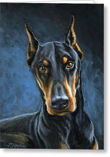 Doberman Pinscher Greeting Cards - Spartacus Greeting Card by Richard De Wolfe