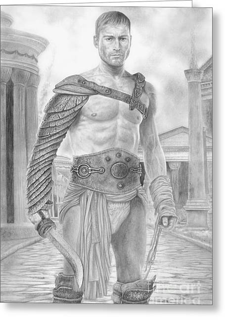 Wave Art Drawings Greeting Cards - Spartacus Greeting Card by Wave