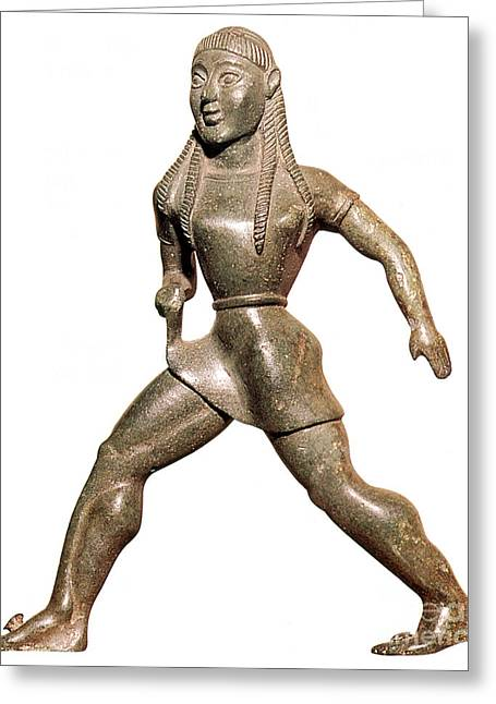 Greek Sculpture Greeting Cards - Spartan Girl Athlete Greeting Card by Photo Researchers