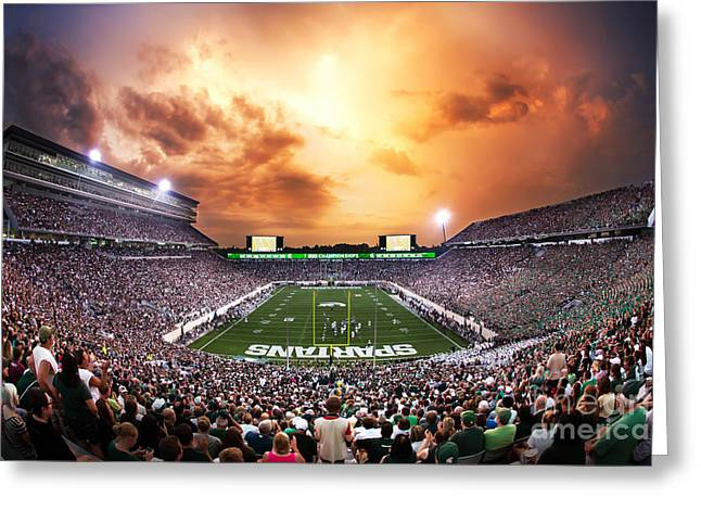Spartan Stadium Greeting Card by Rey Del Rio