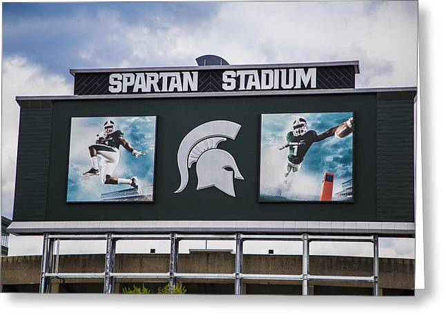 Spartan Stadium Scoreboard  Greeting Card by John McGraw