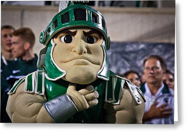 Sparty And Izzo National Anthem  Greeting Card by John McGraw