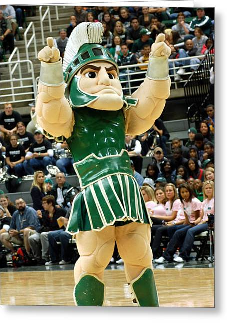 Sparty At Basketball Game  Greeting Card by John McGraw