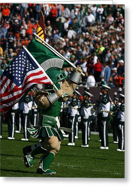 Sparty At Football Game Greeting Card by John McGraw