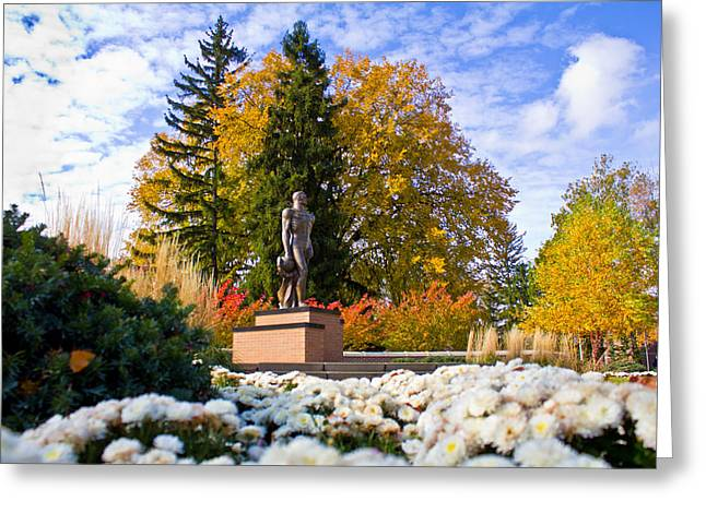 Sparty In Autumn  Greeting Card by John McGraw