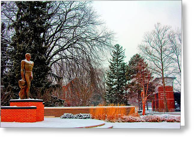 Sparty In Winter  Greeting Card by John McGraw