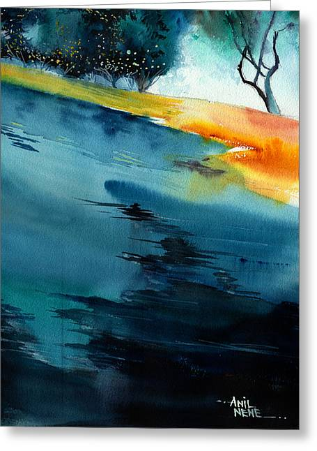 Popular Art Paintings Greeting Cards - Spatial 1 Greeting Card by Anil Nene