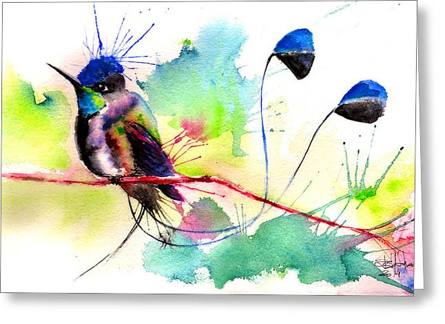 Tribute Drawings Greeting Cards - Spatuletail Hummingbird Greeting Card by Isabel Salvador