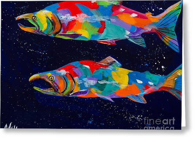 Salmon Paintings Greeting Cards - Spawning Sockeyes Greeting Card by Tracy Miller