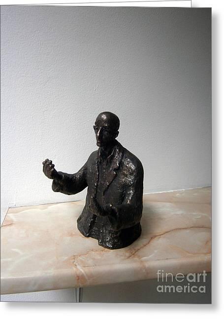 Orator Sculptures Greeting Cards - Speaker Greeting Card by Nikola Litchkov