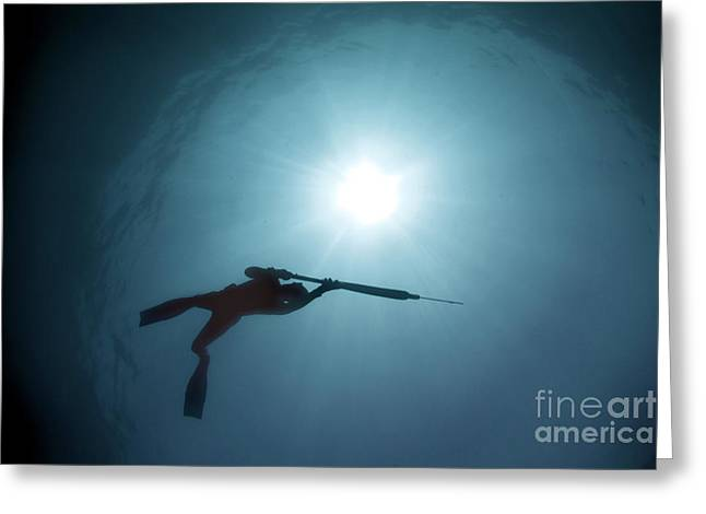 Spearfishing silhouette Greeting Card by Cade Butler