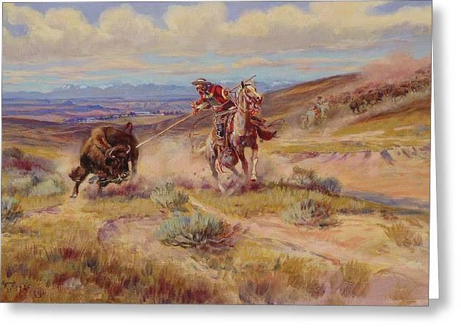 American Western Greeting Cards - Spearing A Buffalo Greeting Card by Charles Marion Russell
