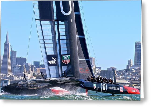 Purchase Greeting Cards - Oracle Americas Cup Winner Greeting Card by Steven Lapkin