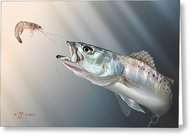 Speckled Trout Greeting Cards - Speck Snack Greeting Card by Hayden Hammond