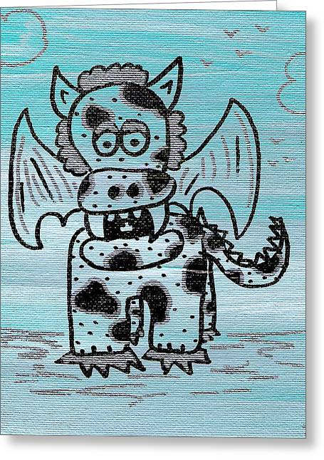 Spot Drawings Greeting Cards - Speckled and Spotted PuppyDragon Greeting Card by Jera Sky