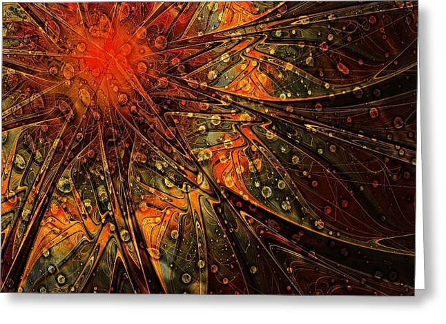 Floral Digital Art Greeting Cards - Speckled Copper Greeting Card by Amanda Moore