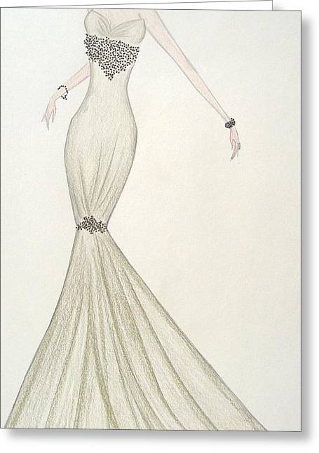 Olive Green Pastels Greeting Cards - Speckled Olive Gown Greeting Card by Christine Corretti